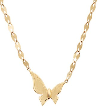 Lana Girl 14K Yellow Gold Tiny Butterfly Pendant Necklace