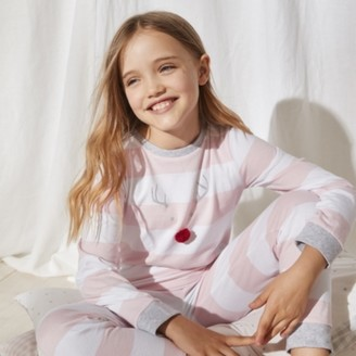 The White Company Jingles Reindeer Stripe Pyjamas (1-12yrs), White/Pink, 1-1 1/2yrs