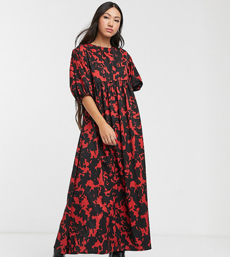 Another Reason puff sleeve maxi smock dress in abstract print