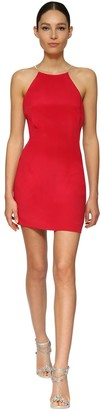 Azzaro CREPE MINI DRESS W/ CRYSTAL STRAPS