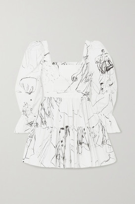 Alexander McQueen Tiered Printed Cotton Mini Dress - Ivory