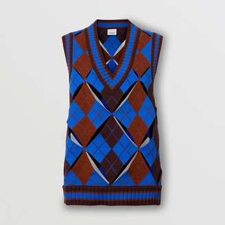 Burberry Cut-out Detail Argyle Technical Wool Jacquard Vest