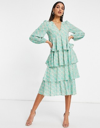 Pretty Lavish tiered balloon sleeve midi dress in green abstract print