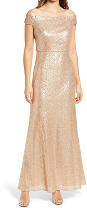 Dessy Collection Sequin Off the Shoulder Gown