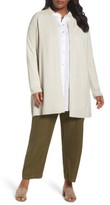 Eileen Fisher Plus Size Women's Rib Tencel Stand Collar Long Jacket