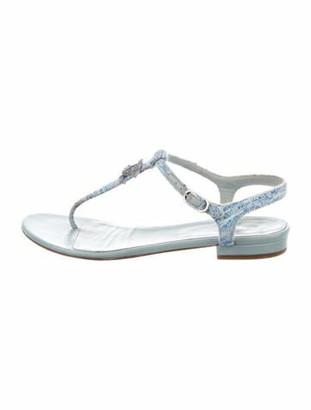 Chanel Interlocking CC Logo T-Strap Sandals Blue