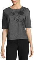 Liz Claiborne Embroided Shine Top