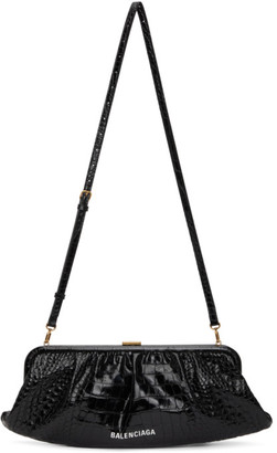 Balenciaga Black Croc XL Cloud Clutch