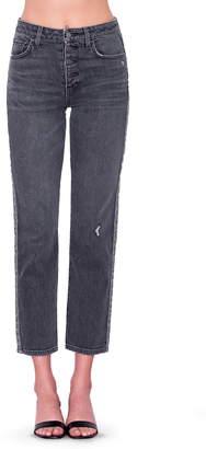 Sundry Leopard Print Stripe High Waist Crop Jeans