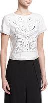 Alice + Olivia Sarina Studded Short-Sleeve Crop Top, White