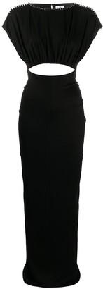 Elisabetta Franchi Open Back Ruched Maxi Dress