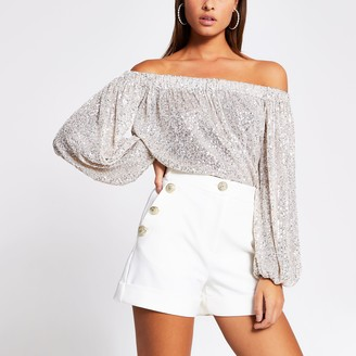 River Island Womens Silver sequin long sleeve bardot top