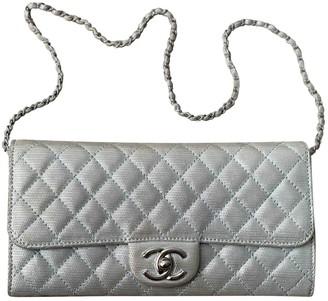 Chanel Wallet on Chain Silver Cloth Handbags