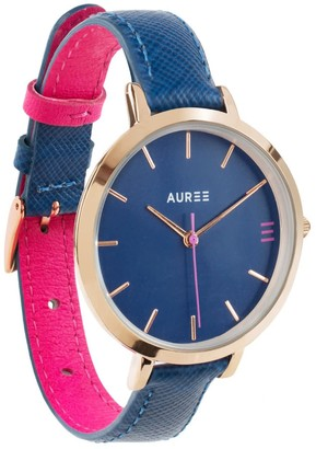 Montmartre Rose Gold Watch With Royal Blue & Hot Pink Leather Strap