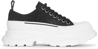 Alexander McQueen Tread slick black glitter lace-up