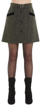 Miu Miu Belted Button Front A Line Skirt