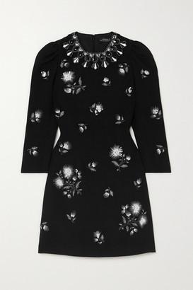Andrew Gn Embellished Crepe Mini Dress - Black