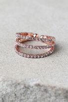 LuLu*s Flair to Spare Rose Gold Rhinestone Ring