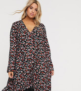 Wednesday's Girl Curve long sleeve smock dress in ditsy floral