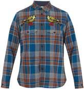 Gucci Checked bird-crochet wool-blend shirt