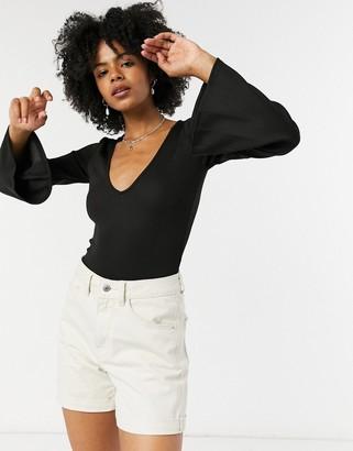 Free People Charli flare sleeve bodysuit