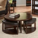 HomeSullivan Round Cocktail Table with 4 Ottomans in Brown Cherry