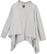 U.S. Polo Assn. Heather Gray Sidetail Open Cardigan - Girls