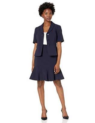 Le Suit Women's Petite 3 Button Notch Collar Short Sleeve Crepe Flounce Skirt Suit
