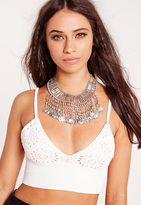 Missguided Coin Trim Statement Necklace Silver