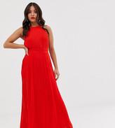 TFNC Petite Petite pleated maxi dress in red