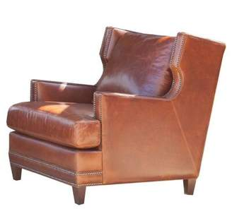 "Dunhill Omnia Leather 26"" Armchair Omnia Leather Body Fabric: Amalfi Crema, Leg Color: Walnut, Nailhead Detail: Small Brass Touching"