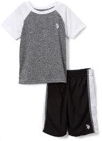 U.S. Polo Assn. White & Gray Raglan Tee & Mesh Shorts Set - Toddler & Boys