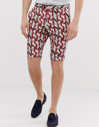 Devils Advocate slim fit printed geo linen mix shorts-Grey