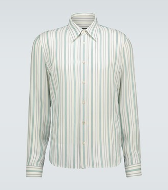 Gucci Striped long-sleeved silk shirt