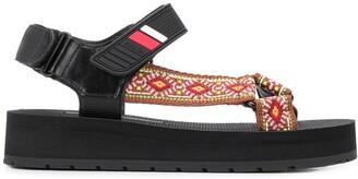 Prada Patterned Strap Platform Sandals