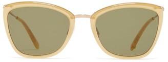 Garrett Leight Louella Cat Eye Actate Sunglasses - Womens - Green Multi