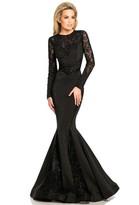 Johnathan Kayne 8068 Lace Long Sleeves Mermaid Gown