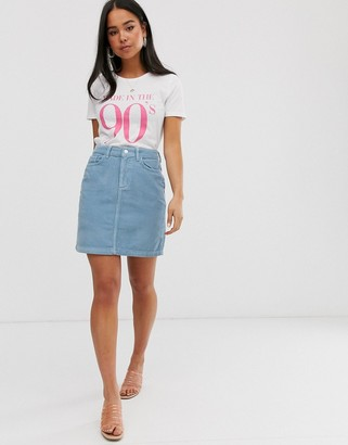 New Look pocket detail cord skirt in blue