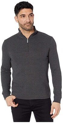 Perry Ellis Ottoman Rib Knit 1/4 Zip Long Sleeve Shirt (Charcoal Heather) Men's Clothing