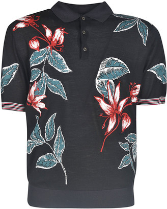 Prada Leaf Printed Polo Shirt