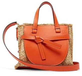 Loewe Gate Small Leather And Raffia Top-handle Bag - Womens - Orange Multi