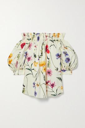Oscar de la Renta Off-the-shoulder Gathered Floral-print Cotton-blend Poplin Blouse - Ivory