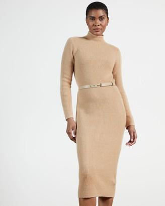 Ted Baker Funnel Neck Chunky Knitted Midi Dress