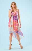 Hale Bob Lisette Silk Cap Dress In Fuchsia