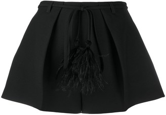 Valentino Feather Detailed Flared Short Shorts