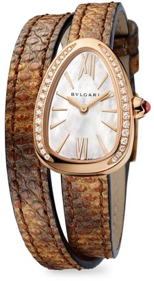 Bvlgari Serpenti Rose Gold, Diamond & Brown Karung Strap Watch