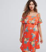 & You You Nursing Floral Print Cold Shoulder Tea Dress