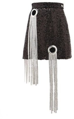 Germanier - Chainmail-tassel Sequinned Mini Skirt - Black