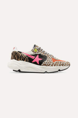Golden Goose Running Sole Printed Calf Hair And Canvas Sneakers - Leopard print