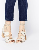 Asos TALK SHOW Lace Up Snake Effect Sandals